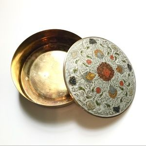 Vintage Brass Floral Tin Canister India